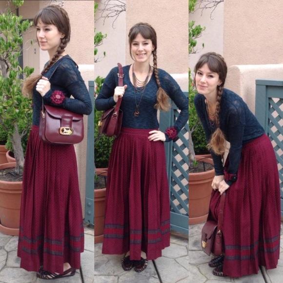 Vintage Dresses & Skirts - Vintage Crisp Pleated Maroon Wool Maxi Skirt